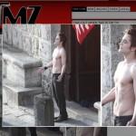 Robert Pattinson nas gravações de Lua Nova
