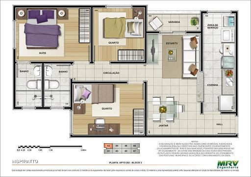 Planta de casa 3d projetos casas terrea com 3 quartos e for Jardins mangueiral planta 3 quartos