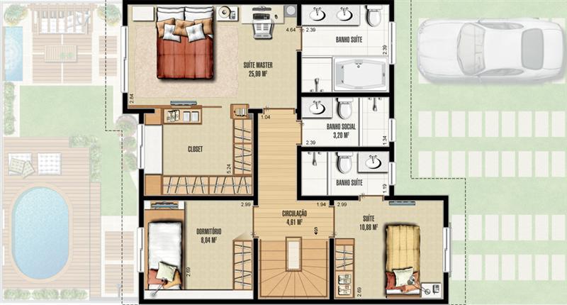Plantas de casas pequenas com 3 quartos for Plantas de casas tipo 3 modernas