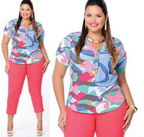 Camisas Femininas Plus Size Moda 2013