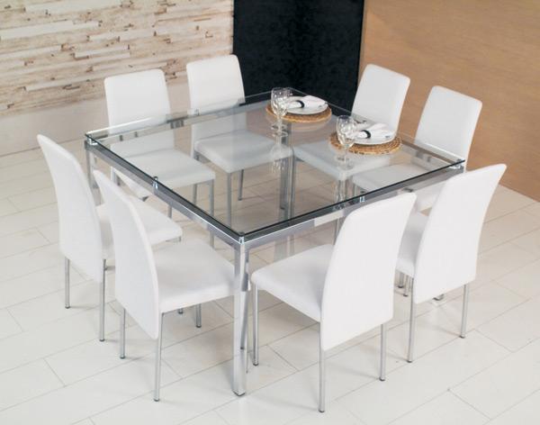Mesas de jantar de vidro fotos modelos for Modelos de mesas