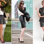 Modelos de Saias de Couro Femininas Moda 2014
