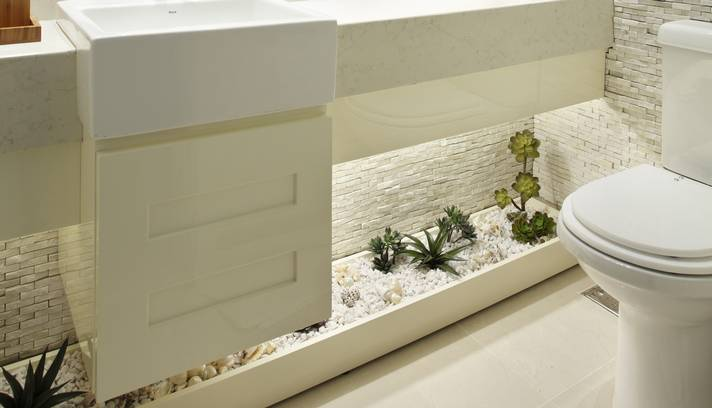 Jardim Dentro de Banheiro Como Fazer, Modelos -> Banheiro Decorado Com Planta Artificial