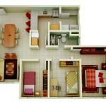 Modelos de plantas de casas modernas 2 e 3 quartos for Casa moderna 90m2