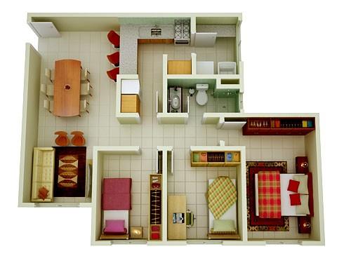 Modelos de plantas de casas modernas 2 e 3 quartos for Plantas de casas tipo 3