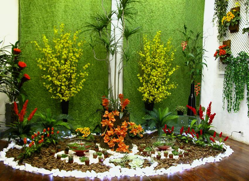 flores e jardins fotos:Modelos de Jardins Residenciais com Pedras na Decoração
