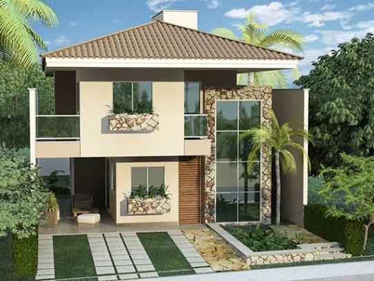 Fachadas de casas decoradas com pedras dicas fotos for Casas decoradas por dentro