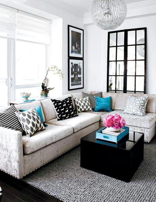 decoracao de sala pequena gastando pouco:Black Grey White and Blue Living Room