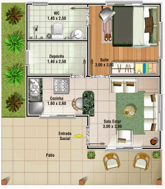 Modelos de plantas de casas de meio lote com 2 ou 3 quartos for Casas mucho lote 2 modelo villas