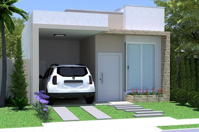 decoracao de sala pequena gastando pouco : decoracao de sala pequena gastando pouco:fachadas-de-casas-pequenas-com-garagem-pequena.jpg
