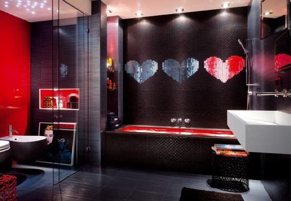 banheiros coloridos escuros