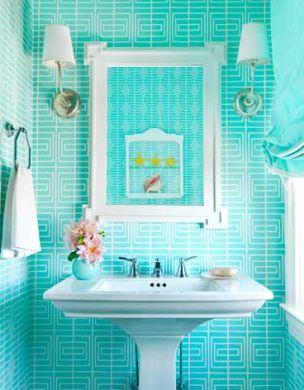 banheiros coloridos tons azuis
