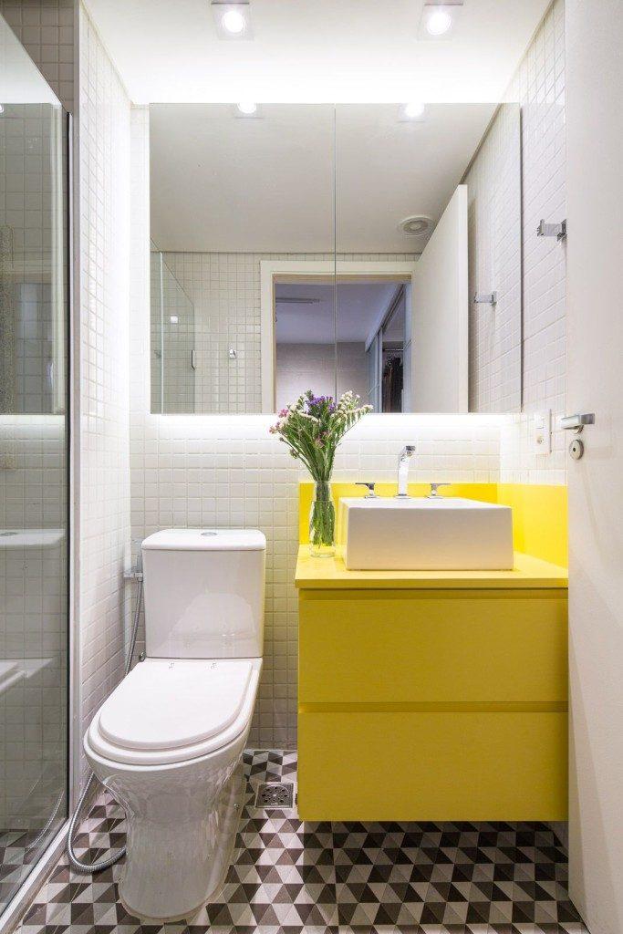 banheiros coloridos tons de amarelo