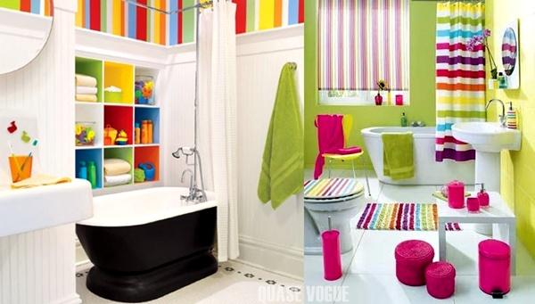 fotos de banheiros coloridos
